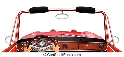 convertible, conducción, automóvil