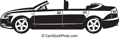 Convertible - black and white illustration of Convertible....