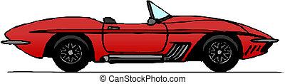 convertible, fondo blanco, rojo