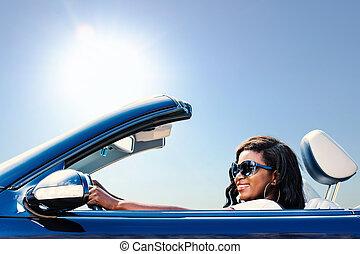 convertible., leány, élvez, fekete, autózás