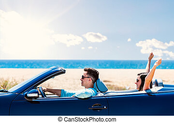 convertible., párosít, vezetés, boldog