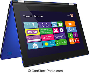 Convertible ultrabook with metro icons on display vector...