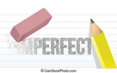 converting imperfect to perfect concept illustration design over a white background
