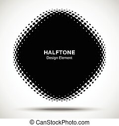 Convex black abstract vector distorted angle rounded square frame halftone dots logo emblem design element for new technology pattern background.