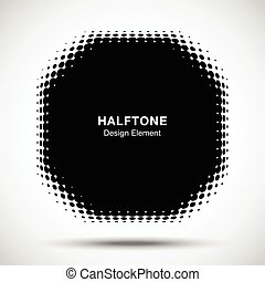Convex black abstract vector distorted polygon frame halftone dots logo emblem design element for new technology pattern background.