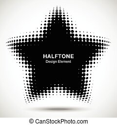 Convex black abstract vector distorted star frame halftone dots logo emblem design element for new technology pattern background.