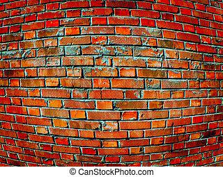 convex brick wall close up