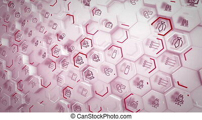 """Convex business hexagons flying aslant"" - ""Flaring 3d ..."