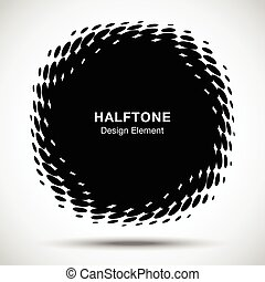 Convex distorted black abstract vector circle frame halftone...