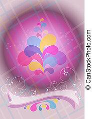 Convex purple ball and ribbon decor