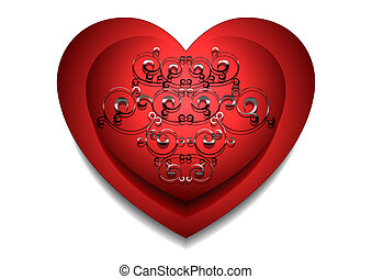convexo, coração vermelho, com, prata, tamborile