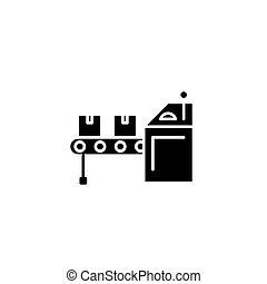Conveyer black icon concept. Conveyer flat  vector symbol, sign, illustration.