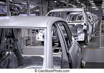 conveyer in factory  - conveyer in an automobile factory