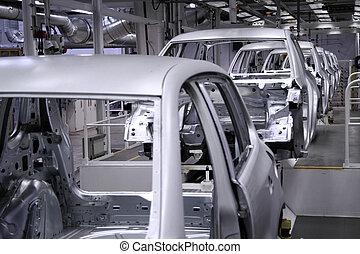 conveyer in factory  - conveyer in an automobile factory