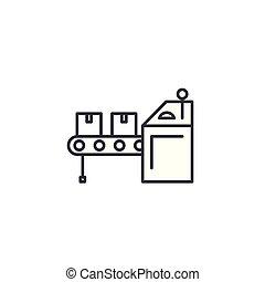 Conveyer linear icon concept. Conveyer line vector sign, symbol, illustration.