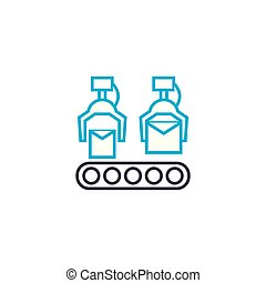 Conveyer production linear icon concept. Conveyer production line vector sign, symbol, illustration.