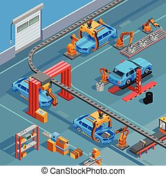 Conveyor Automotive Manufacturing System Isometric Poster