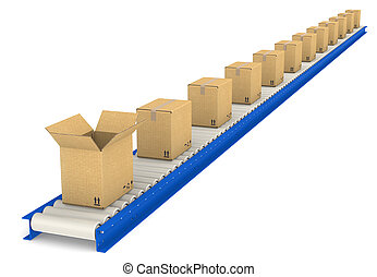 Conveyor Belt with boxes. One Open. Cardboard texture.