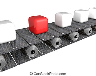Conveyor Belt - Conveyor brings many white cubes and one red