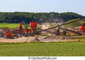 Conveyor Belt - gravel pit - Recording a gravel pit with...