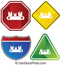 Conveyor Belt Icon - Conveyor belt icon isolated on a white...