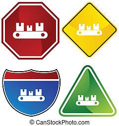 Conveyor Belt Icon - Conveyor belt icon isolated on a white...