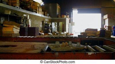 Conveyor belt in foundry workshop 4k - Conveyor belt in ...