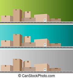 Conveyor Belt of Boxes - An image of a conveyor belt with...