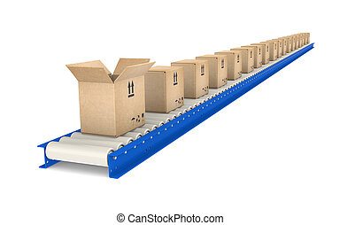 Conveyor Belt, one open Box. Blue and steel. Part of Blue warehouse and logistics series.