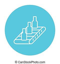 Conveyor belt system line icon. - Bottles on conveyor belt...