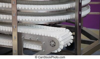 Conveyor belt transporatation system movement close up