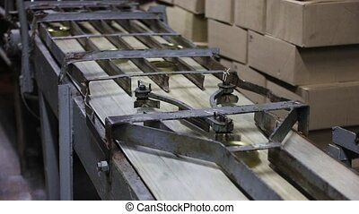 Conveyor belt with canned - Conveyor belt in a fish canning...