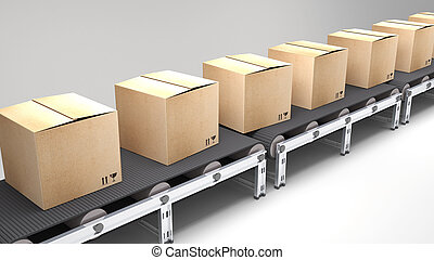 conveyor belt with cartons for use in presentations, manuals, design, etc.