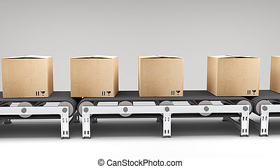 conveyor belt with cartons for use in presentations,...