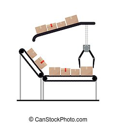 conveyor belt with sealed packages and crane mechanics