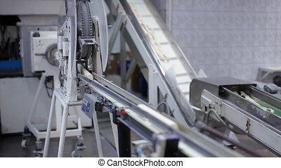 Conveyor belt with slices of soap - Assembly line belt with...