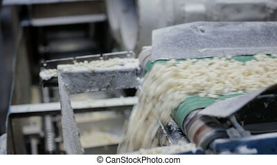 Conveyor belt with slices of soap