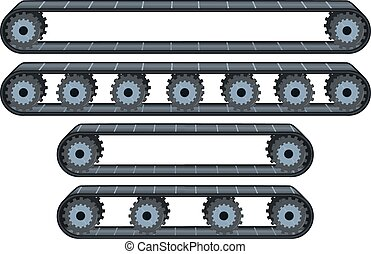 Conveyor Belt With Wheels Pack - Vector illustration pack of...