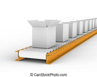 Conveyor belt withe boxes