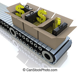 Conveyor cardboard boxes with gold bars and dollar signs