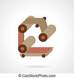 Conveyor element flat color vector icon - Rollers and belt...