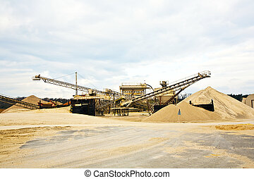 Conveyor on site at gravel pit - Conveyor on site at gravel...