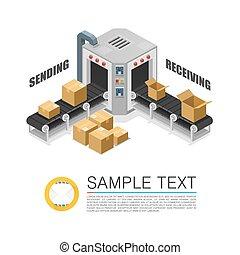 Conveyor packing parcels sign art. Vector illustration