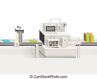 Startup of a new product. Raw materials moving on the conveyor belt. Vector infographics production business into a flat style and perspective view of. Minimalistic clean design.