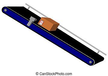 Conveyor - A carton on a conveyor belt
