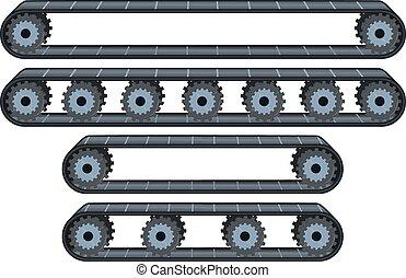 conveyor, wielen, troep, riem