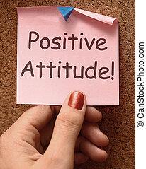 convicção, positivo, otimismo, nota, atitude, ou, mostra