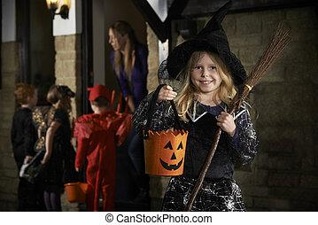 convidar, halloween, niños, truco, disfrazar partido, o