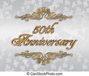 convite, aniversário, 50th, casório