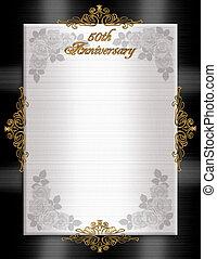 convite, aniversário, 50th, formal
